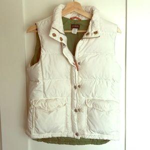 J. Crew White Puffer Vest Small